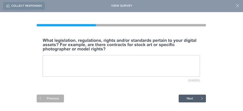 Example digital asset management survey question