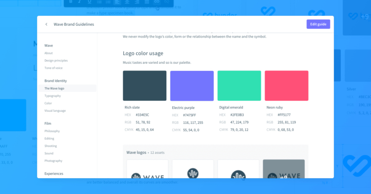 Brand guidelines bynder colors