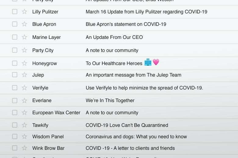 Coronavirus email slate
